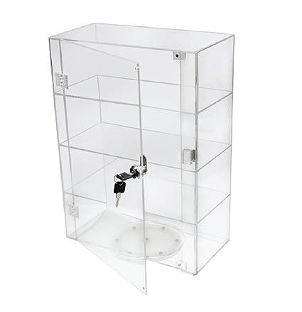 PC3721® 1 Vitrina de acrílico transparente de alto brillo con puerta frontal, cerradura de