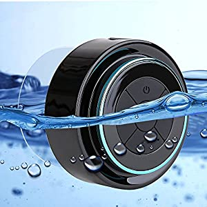 Guzack Bluetooth Shower Speaker,Wireless Waterproof Speaker with FM Radio,Portable Rugged Audio Hands-Free Speakerphone for Smartphone,Built-In Mic,Dedicated Suction Cup,Pairs To All Bluetooth Device