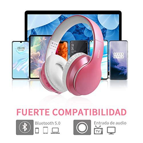 Auriculares Inalambricos Diadema, Cascos Bluetooth 5.0 Plegable con Microfono Incorporado, Hi-Fi Sonido, para TV/Móvil, Gaming/Deportivos(Rosado)