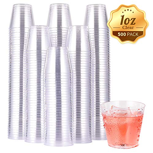500 PACK Plastic Shot Glasses-1 Oz Disposable Cups-1 Ounce Tasting Cups-Party Cups Ideal for Whiskey, Wine Tasting, Food Samples