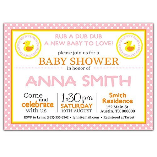 Rubber Ducky Girl Baby Shower Party Invitations ()
