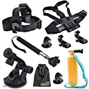 EEEKit 8-in-1 Accessories Kit for Gopro Hero4 Black/Silver Hero HD 3+/3/2/1 Camera, Head Belt Strap Mount+ Chest Belt Strap Mount+ Extendable Handle Monopod + Car Suction Cup Mount Holder + Floating Handle Grip + 2 PCS Tripod Mount Adapter+2 PCS Gopro Surface J-Hook+EEEKit Pouch