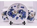 Decorative Twin Dragons Vases & Plate Set
