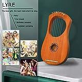 Lyre Harp Instrument, 7 Metal String Mahogany Lyre