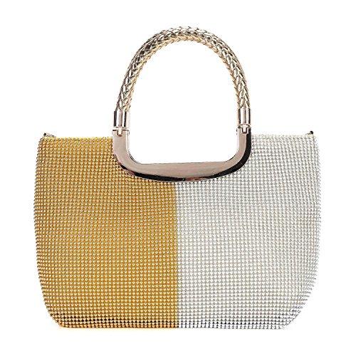Mufly Womens Beautiful Handbag Sparkly Crystal Clutch Bag Satin Evening Bags Wedding Bridal Wallet Handy Designer Bag G & W 1