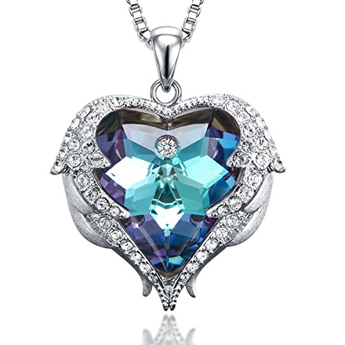 sedmart Purple Crystal Freedom Wings Necklace Guardian Angel Wings Charm Pendant Necklace February Birthstone Heart Crystal Necklace Jewelrys for Women