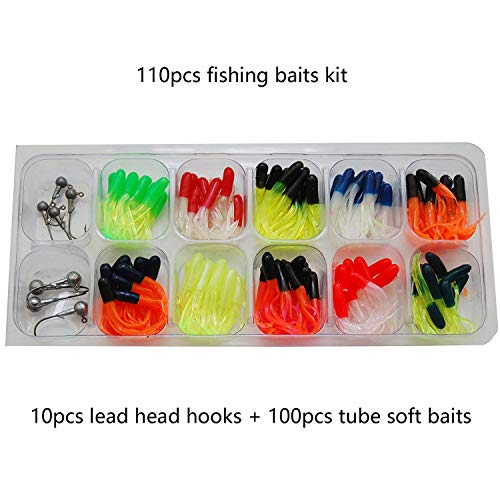 SILANON Fishing Crappie Baits Jig Set - 110PCS Soft Crappie Tube Squid Worm Lures Lead Heads Jig Hooks Kit for Bass Trout Freshwater and Saltwater Fishing