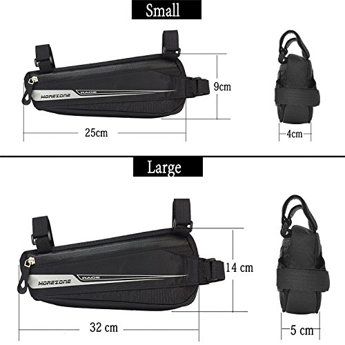 MOREZONE Bike Triangle Frame Bag, Bicycle Pouch Under Seat Top Tube Pack Water Resistant