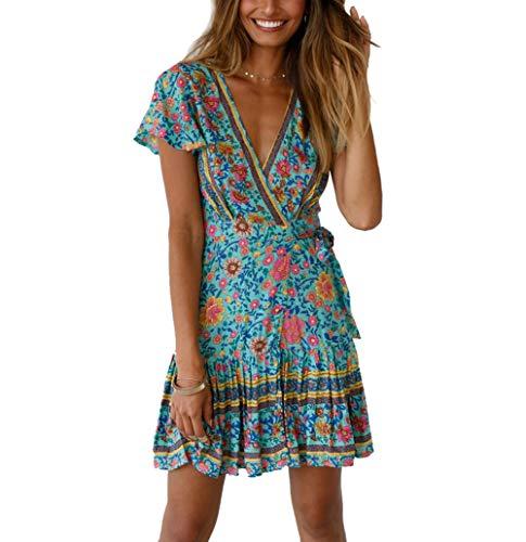 Womens Boho Dress Wrap V Neck Sundress Ruffle Floral Beach Dress A Line Mini Dress with Belt Green