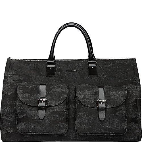 Hook & Albert Black Camo Melange Fabric Garment Weekender Bag
