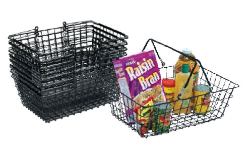 Wire Store Shopping Baskets 19''WX13''DX6 1/2''H Vinyl Coated BLACK Lot of 12 NEW by CUSTOM