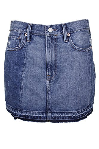 Denim & Supply Ralph Lauren Womens Distressed Frayed Hem Denim Skirt Blue 27