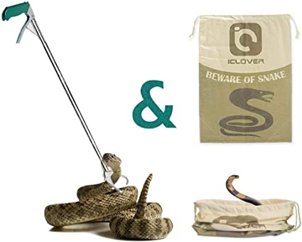 47 Inch Proffessional Snake Tongs Long Aluminum Reptile Catcher Stick Rattlesnake Grabber with Self-Lock