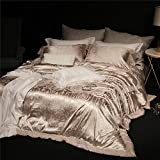 1500T Pima Cotton With Lace Duvet Cover Set 4 pieces Luxury Silk With Jacquard Sextra queen^^^silver 1