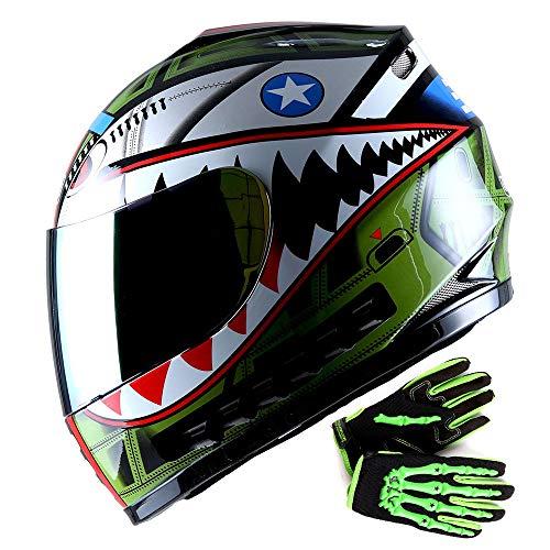 WOW Youth Motorcycle Full Face Helmet Street Bike BMX MX Kids Shark Army Green + MX Skeleton Glove Bundle