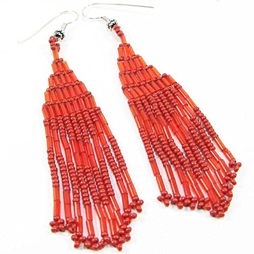 Viva Handmade Coral RED Color Bugle Chandelier Earrings - E-11-SB-7 ()