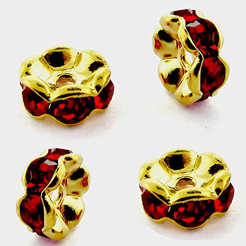 RUBYCA 100pcs Wavy Rondelle Spacer Bead Gold Tone 6mm Dark Red Czech Crystal ()