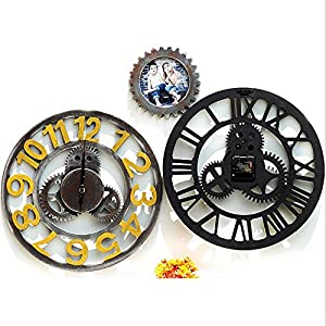 xiangshang shangmao Modern Home Decor Wall Clock Large Round Metal Color Vintage Steampunk Skeleton