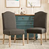 Roundhill Furniture C171CC Mod Urban Style Wood Nailhead Fabric Padded Parson Chair Set of 2, Charcoal