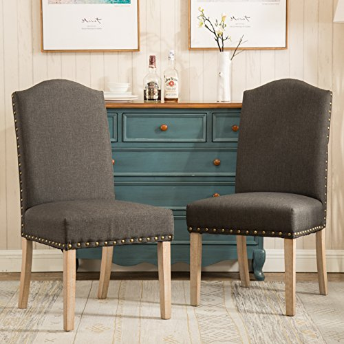 Roundhill Furniture C171CC Mod Urban Style Wood Nailhead Fabric Padded Parson Chair Set of 2, Charcoal by Roundhill Furniture