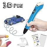 3D Pen with PLA Filament Refills - Dikale 07A【Newest Version】3D Doodler Drawing Printing Printer Pen Bonus 3 Colors 30 Feet PLA 250 Stencil eBook for Kids Adults Arts Crafts Model DIY, Non-Clogging