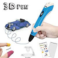 3D Pen with PLA Filament Refills - Dikale 07A【Newest Version】3D Doodler Drawing Printing Printer Pen Bonus 3 Colors 30 Feet PLA 250 Stencil eBook for Kids Adults Arts Crafts Model DIY, Non-Clogging