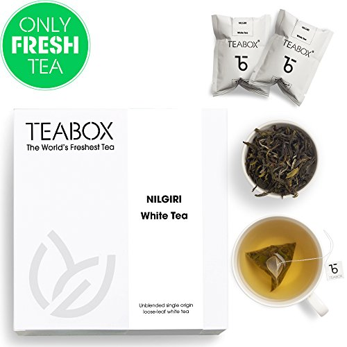 - Teabox Nilgiri White Tea, Tropical Fruit Flavoured | Certified Organic, Fresh, Exotic, Smooth Herbal Tea Selection | Unblended Single-Origin Loose Leaf Teas | Ethical & Fair Trade | Set of 16 Tea Bags