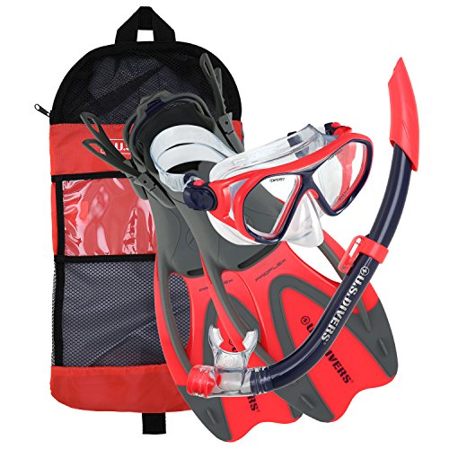 U S  Divers 281097 Dorado Ii Jr Mask Sea Breeze Snorkel Proflex Fins Set  Red Black  Medium