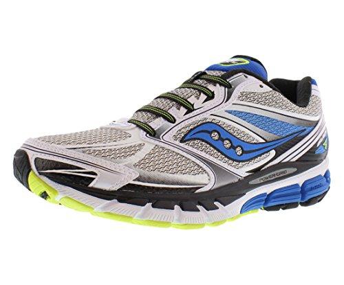 Saucony Men's Guide 8 Running Shoe,White/Blue/Citron,10 M US