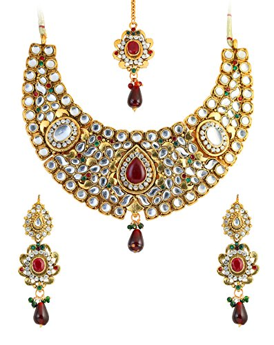 Touchstone Indian Bollywood Mughal Kundan polki Look cabochon red Faux Ruby Green Faux Emerald Bridal Designer Jewelry hasli Necklace Set for Women in Gold Tone