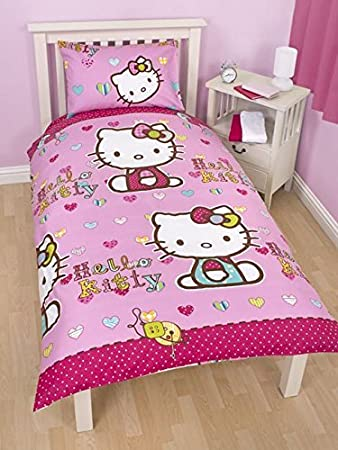 Hello Kitty Bettwäsche Bettbezug 135 X 200 Cm Folk Amazon