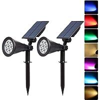 2 Pack Solar Lawn Light, IP65 Waterproof Garden Ground Plug Light, 7 LED Colorful Projection Landscape Lamp, Park Courtyard Pool Decor