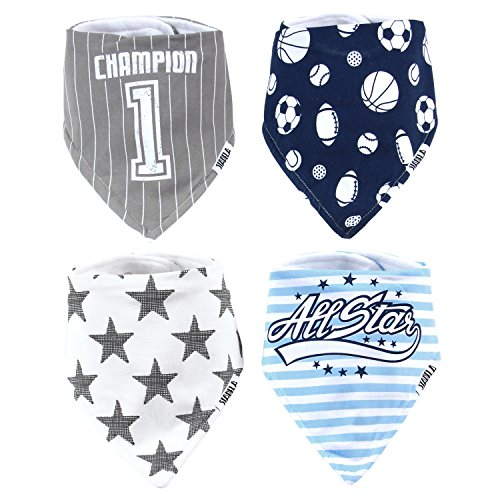 Stadela Baby Adjustable Bandana Drool Bibs for Drooling and Teething Nursery Burp Cloths 4 Pack Baby Shower Gift Set for Boys – Sports Champion Baseball Football Soccer Basketball All Star