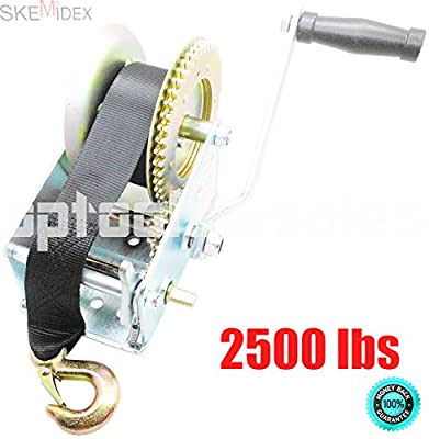 SKEMiDEX---2500lbs Nylon Strap 2 Gear Hand Winch Hand Crank Gear Winch ATV Boat Trailer. Ideal for boat haulage or trailer mounting Conveniently drilled holes in base allow easy mouting