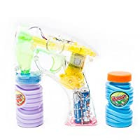 Fun Central C205 1 pack 6 inch LED Light Up Bubble Gun, LED Light up Gun, LED Bubble Gun, Bubble Guns – for Party Favors, Gifts, Prizes, Rewards,