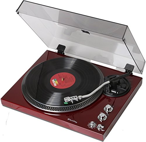 TechPlay TCP4530 Analog Turntable with Built-in Phono Pre-Amplifier, by-Pass Selecter, Auto-Return, Aluminum Platter and Direct PC Link, with Audio-Technica's AT95E Cartridge (Piano Cherry)