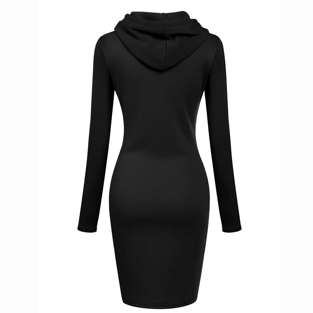 KIKOY Womens Long Sleeve O Neck Solid Casual Long Hooded Drawstring Sweatshirt with Pockets Dress