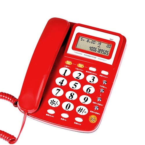 Small Expansion Office Hotel Vintage Decorative Telephones Home Fixed Landline Small Expansion Corded Phone Wall Phone (Color : Red) from FT-Landline