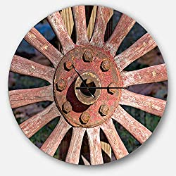 Designart Red Country Wagon Wheel' Oversized Farmhouse Metal Clock, Circle Wall Decoration Art, 38x38 Inches