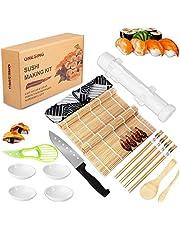 ONESING 24 Pcs Sushi Making Kit Bamboo Sushi Mat Sushi Maker with Sushi Bazooka Avocado Slicer Bamboo Chopsticks Bamboo Sushi Mats Chopsticks Holder for DIY Sushi Making
