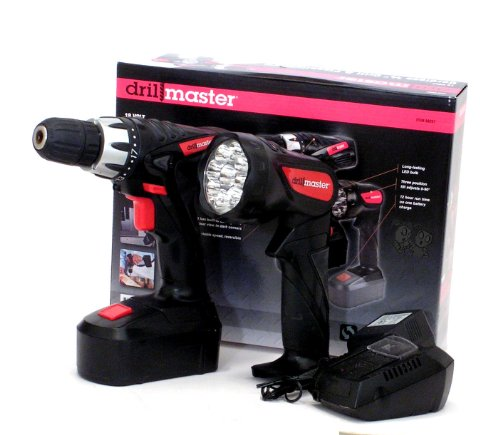 18 Volt Cordless 3/8 inch Drill and Driver with Keyless Chuck (Variable Speed and Reversible) and LED Flashlight Kit (18 Volt Battery Drill Master)