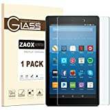 All-New Fire HD 8 Screen Protector, ZAOX [9H Hardness] [Bubble Free] Tempered Glass Screen Protector for Amazon Kindle Fire HD 8 Tablet Film (2017 and 2016 Model) (1 PACK)
