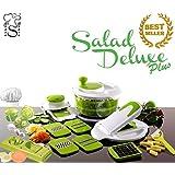 Saladier, Coupe-Légumes, Trancheuse, Essoreuse pour salade, Robot de cuisine + Hacheur d'ail, Coupe-Oeuf + Eplucheur de Pommes de Terre en Céramique fabriqué par stone&stone