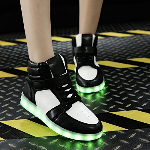 O&N 7 Colors Women Men LED Flashing Sneakers High Top Light Up Shoes Lace Up USB Charging Trainers Gift Black lvI3Lyx