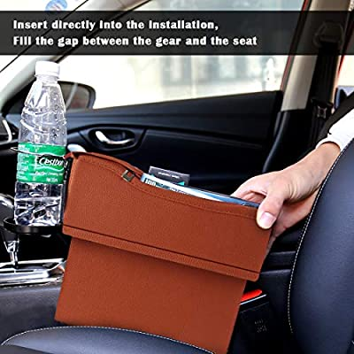 Maodaner Universal Car Seat Gap Filler Premium PU Leather Side Pocket Organizer, Seat Crevice Storage Box with Cup Holder for Smartphone Coin Wallet Key, Car Interior Accessories 2PCS (Red Brown): Automotive