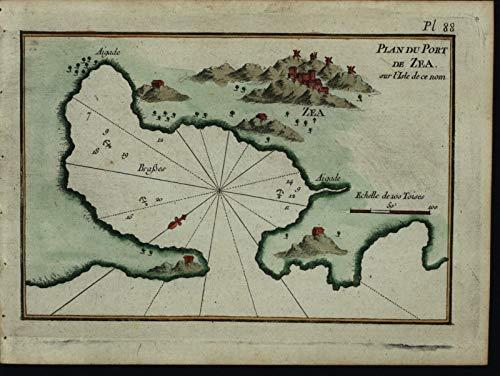 (Plan Port Zea Greece Aegean island 1764 Roux nautical harbor chart map antique)