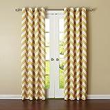 "2 panel yellow curtains - Best Home Fashion Room Darkening Blackout Chevron Print Curtains – Antique Bronze Grommet Top – Yellow – 52""W x 63""L – (Set of 2 Panels)"