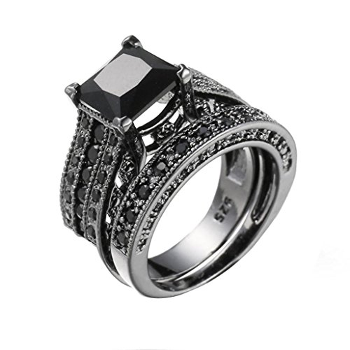 Lywey 2-in-1 Womens Couple Vintage Black Diamond Silver Engagement Wedding Band Ring Set (7) from Lywey