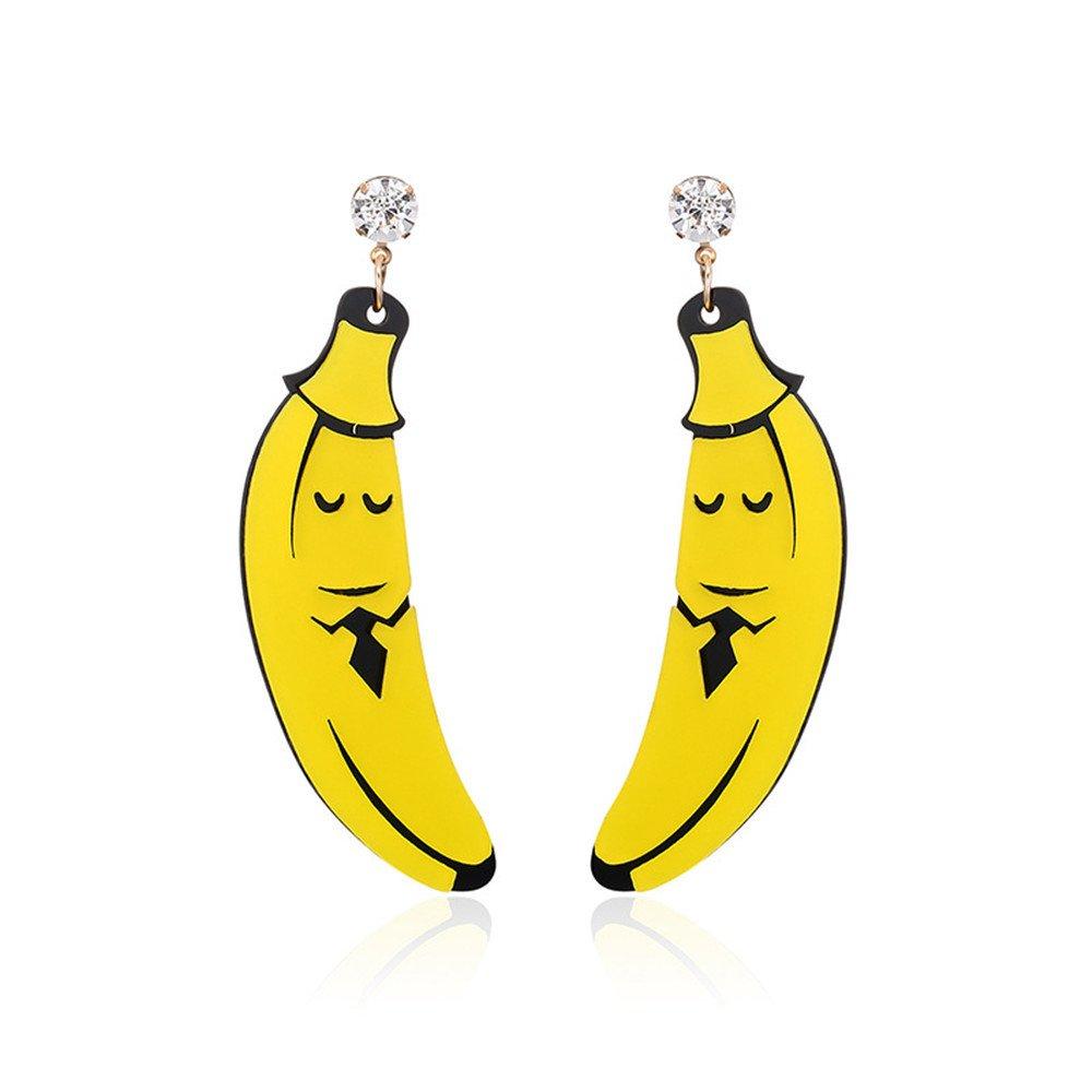 MEEOI exageración de la moda Ear Stud Earrings Ear Hoop 925 plata de ley para mujer, Sr. Pendientes divertidos de plátano: Amazon.es: Joyería