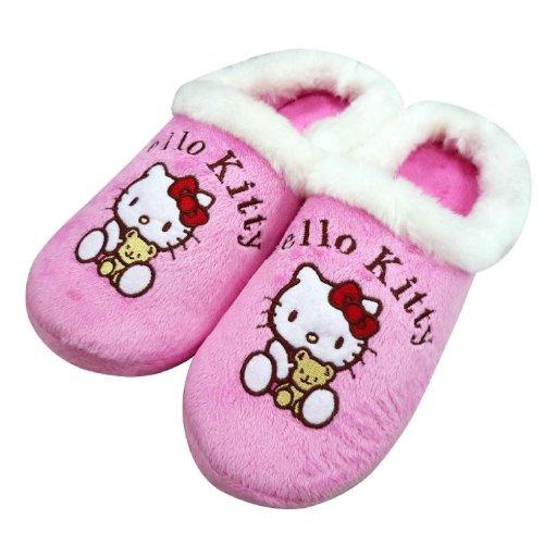 Meilleur choix de cadeau fête des mères ~Le meilleur cadeau de Noël Choix sur la promotion ~Hello Kitty Pantoufles/Chausson d'intérieur pour les filles-Marchandise Authentique HELLO KITTY
